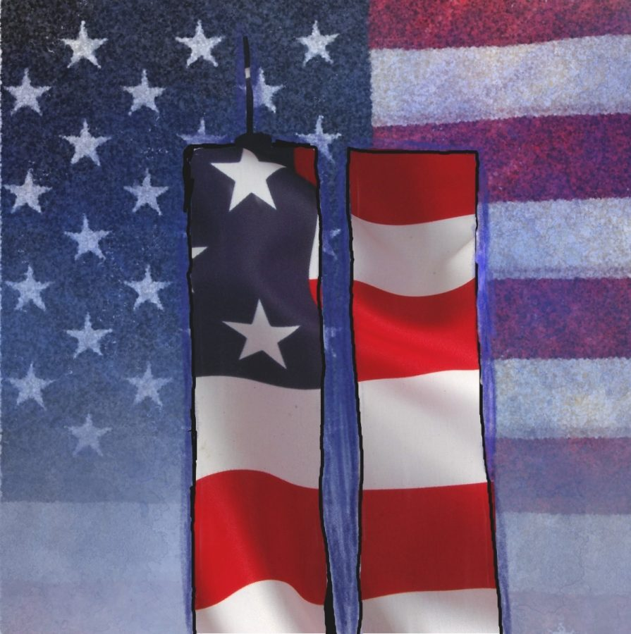 A patriotic depiction of the Twin Towers