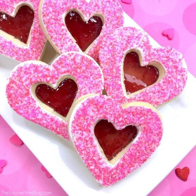 Valentine's Day Stained Glass Heart Cookies