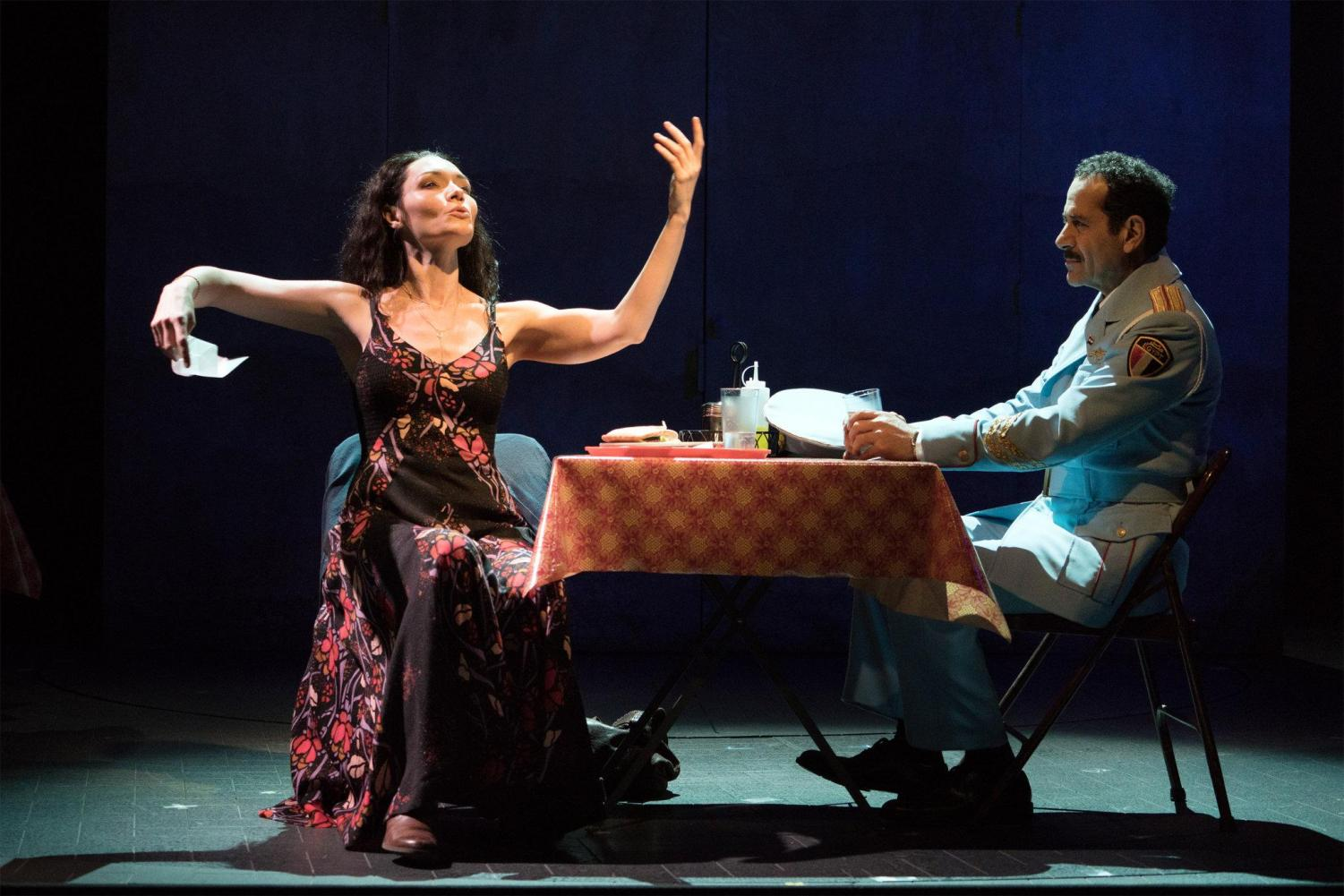 "Katrina Lenk and Tony Shalhoub in ""The Band's Visit,"" directed by David Cromer."