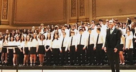 Chorus students playing at Carnegie Hall