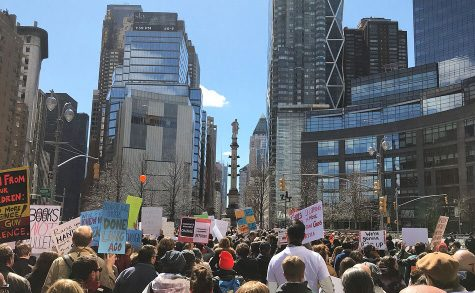 Protestors gathered in New York City.