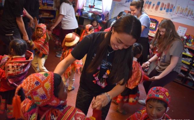 Marissa Keller with children in Peru