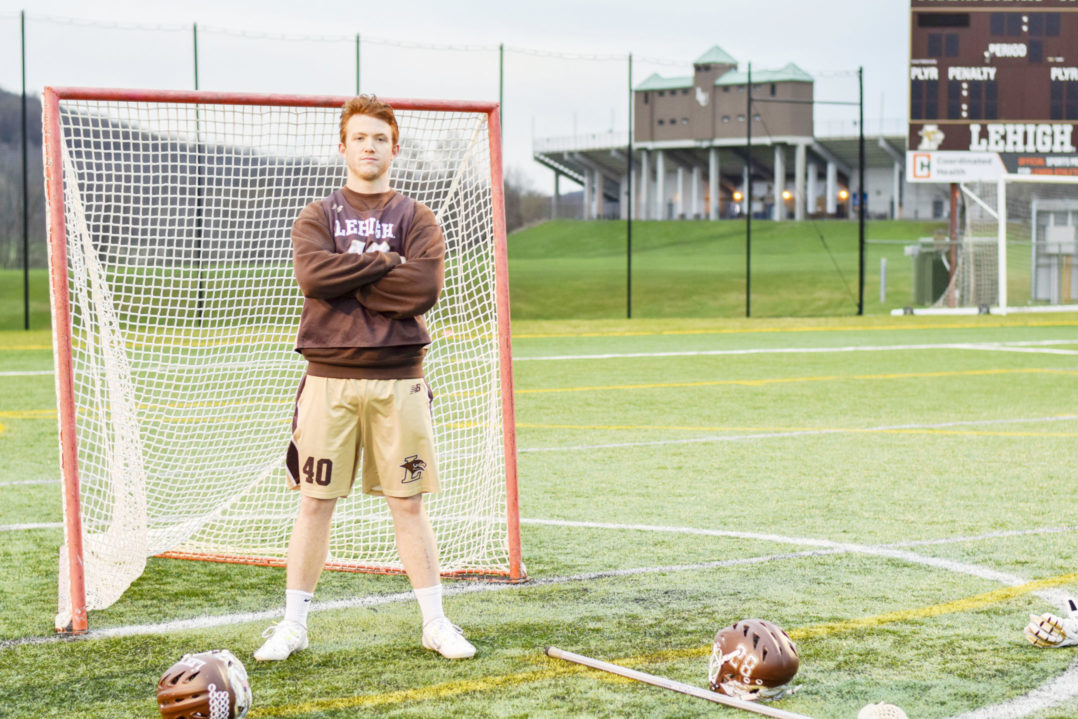 In this April 17, 2018, file photo, Lehigh senior defense Eddie Bouhall stands by the goal at Goodman Stadium. Bouhall was drafted by the Atlanta Blaze in the 2019 Major League Lacrosse Collegiate Draft. (Roshan Giyanani/B&W Staff)