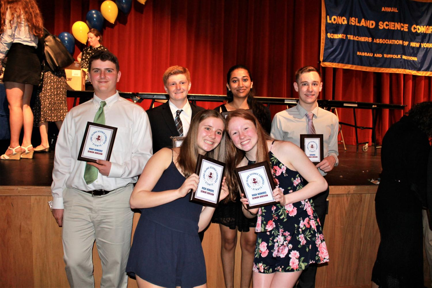 High school researchers with awards at the Long Island Science Congress