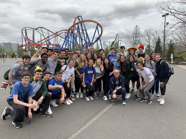 Physics students outside Six Flags