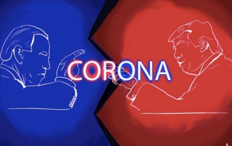 An illustration of Trump and Biden debating the coronavirus