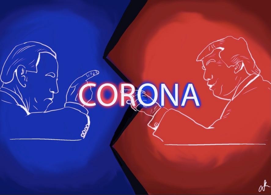 An+illustration+of+Trump+and+Biden+debating+the+coronavirus