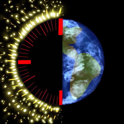 A visualization of the idea that the earth is running out of time to solve its climate crisis.
