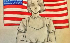 Illustration of a girl sitting in front of the American flag