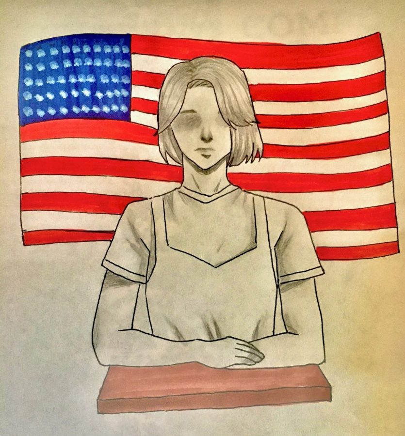 Illustration+of+a+girl+sitting+in+front+of+the+American+flag