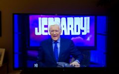 An episode of Jeopardy that was aired after Alex Trebek's passing showing him sporting a smile as he always did.