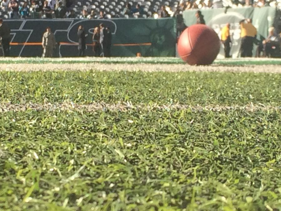A football lying on the field of the New York Jets.