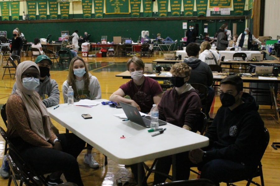 A group of students enjoys refreshments after giving blood at the LHS Key Club Blood Drive on May 1, 2021.